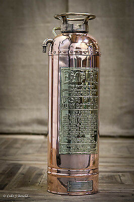Early 20th Century Polished Brass & Copper Fire Extinguisher