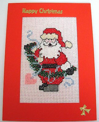"""Christmas Card Completed Cross Stitch Santa & Heart Garland  8x6"""""""