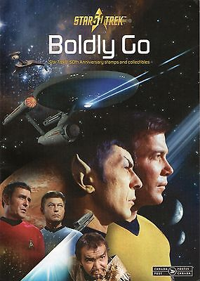 "2016 Canada Post STAR TREK 50th Ann.Stamps""TO BOLDLY GO"" Detailed Catalogue NM."