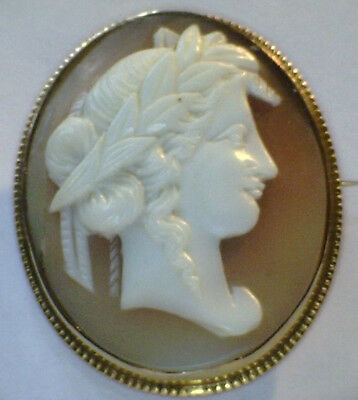 PRETTY VINTAGE 9ct GOLD SHELL CAMEO BROOCH / PIN