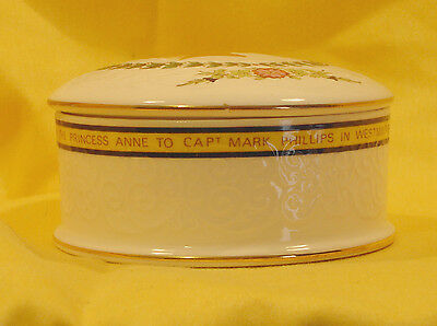 "A09 1973 Princess Anne & Mark Phillips Wedding  Trinket Box . 4"" diameter"