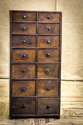 Early 19th Century Naive Folk Art Bank Of Drawers