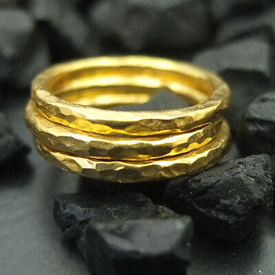 Handmade Hammered Band Engagemend Ring Set 22K Gold over 925 Sterling Silver 3pc