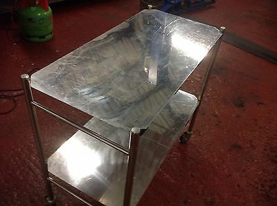 stainless steel 2 tier ex hospital trolly with removable shelves