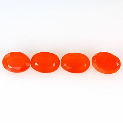 2.910 Ct 100% Natural Museum Grade Fine Orange Red Mexican Fire Opal Oval 4 Pcs
