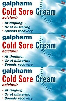 Galpharm Cold Sore Cream 2g Aciclovir Same As Zovirax 3 Packs