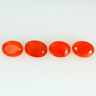 2.600 Ct 100% Natural Museum Grade Fine Orange Red Mexican Fire Opal Oval 4 Pcs