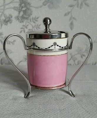 A Vintage Alex Clark Silver Plated Preserve Pot Stand with Paragon China Pot
