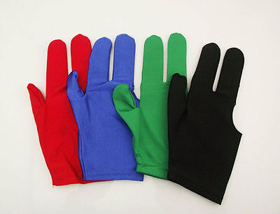 New 4x Billiards Pool Snooker Cue Shooters 3 Fingers Gloves black blue green red