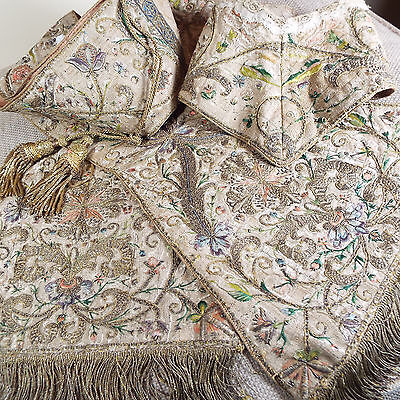 English 17th Century Embroidery Ecclesiastical Stole Gold Metallic Needlework