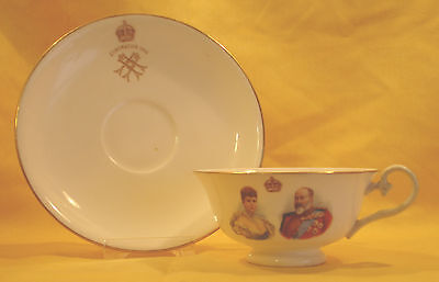 E705 1902 Edward VII. RD  Wide brim Cup & Saucer Coronation by Royal Doulton