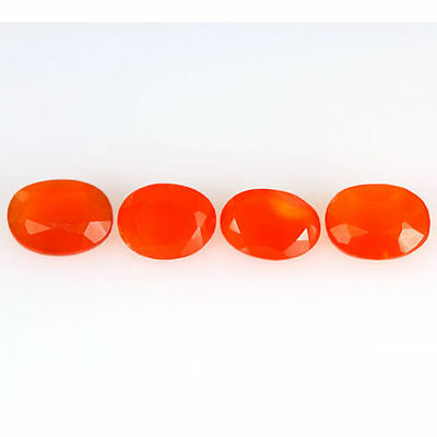 2.680 Ct 100% Natural Museum Grade Fine Orange Red Mexican Fire Opal Oval 4 Pcs