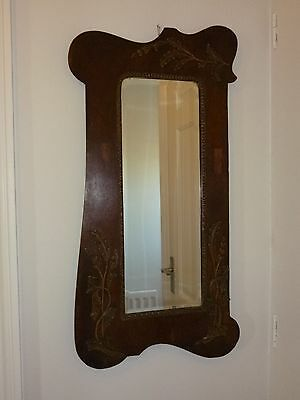 Antique Arts & Crafts Style  Carved Mirror With Applied Wood Leaf Design