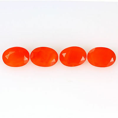 2.880 Ct 100% Natural Museum Grade Fine Orange Red Mexican Fire Opal Oval 4 Pcs