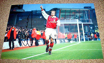 DENNIS BERGKAMP ARSENAL FC HAND SIGNED PHOTO AUTHENTIC GENUINE + COA - 12x8