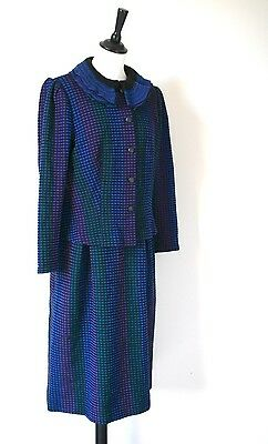 Knitted Wool Vintage Skirt & Jacket Suit - 1980s Green / Blue -  UK 12