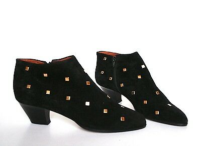 UK 7.5 / 8 Vintage Pixie Shoes /Ankle Boots - Black Suede Leather - 40.5 / 41