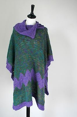 Vintage Knitted Poncho - Purple / Green - Freesize