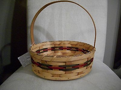 Basket Amish Made Reed Beauty Basket Plain with Green & Burgundy