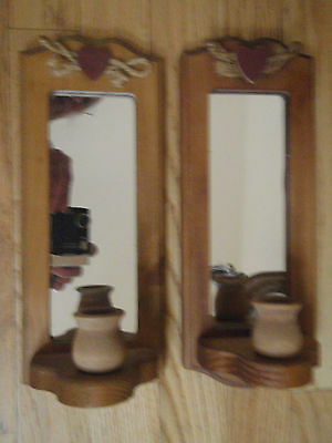 Home Interior natural wood pair of sconces candle holder with a heart