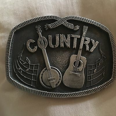 Vintage Country Guitar Banjo 1976 Indiana Metal Craft Belt Buckle Blue Grass