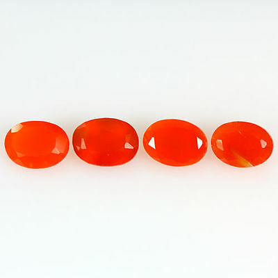 2.770 Ct 100% Natural Museum Grade Fine Orange Red Mexican Fire Opal Oval 4 Pcs