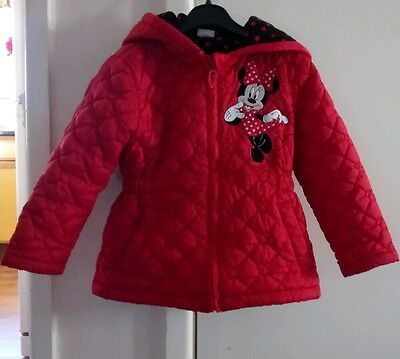 Girls red Minnie Mouse Coat age 4-5 tesco