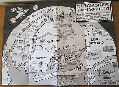 "RaRe RAMONES legacy Poster ""Birth of PUNK"" Queens Museum exhibit fold out HEY HO"