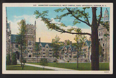 DURHAM NORTH CAROLINA NC 1937 Dormitory Quadrangle Duke University Postcard PC