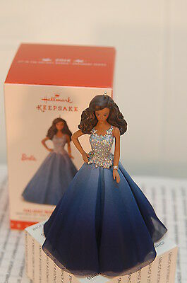 Holiday Barbie~2016 Hallmark Ornament~African American~Blue~Free Ship In Us