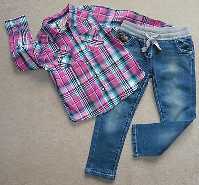 Girls Next Shirt +  Pair Of Next Stretch Jeans, Age 5 Yrs