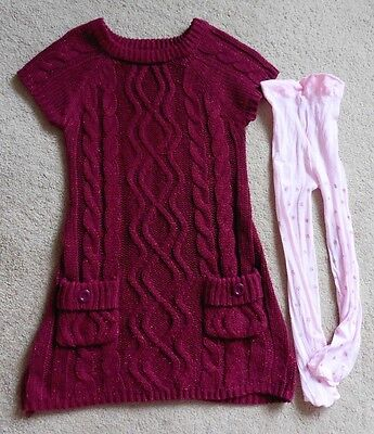Girls F & F Dress + Pair Of Tights, Age 5 - 7 Years