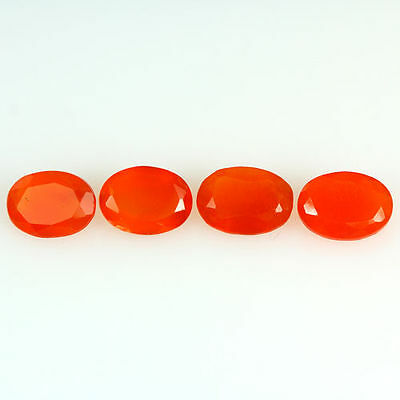 2.450 Ct 100% Natural Museum Grade Fine Orange Red Mexican Fire Opal Oval 4 Pcs