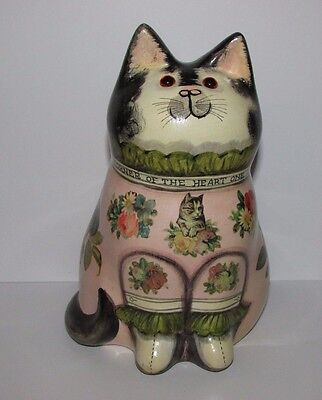 Joan and David De Bethel Rye Sussex. Decoupage Pottery Cat. 1992. 7""