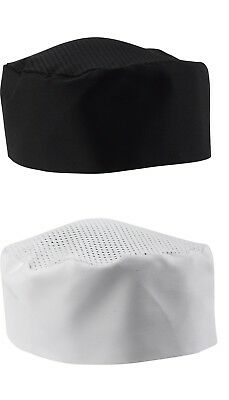 Polycotton Chefs Skull Cap Mesh Top White Black Cool Cooking Catering Restaurant