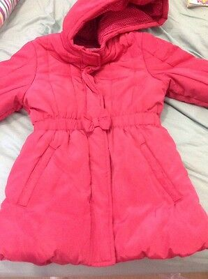 Gorgeous M&s Cerise/ Red Warm Girls Coat For School Or Play Perfect 7-8