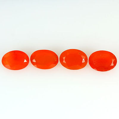 2.860 Ct 100% Natural Museum Grade Fine Orange Red Mexican Fire Opal Oval 4 Pcs