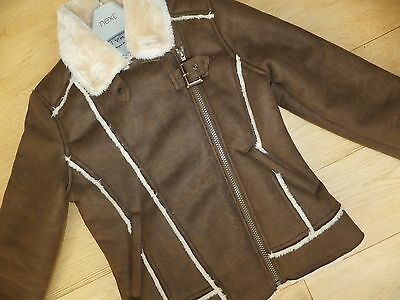 NEXT ** Beautiful GIRLS NEXT fAUX SUEDE Winter COAT JACKET  AGE 11 - 12 YEARS