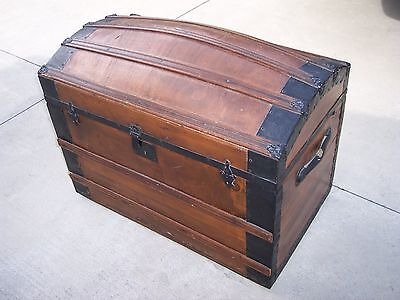 Antique Camel back steamer & railroad trunk-chest w/Tray and key