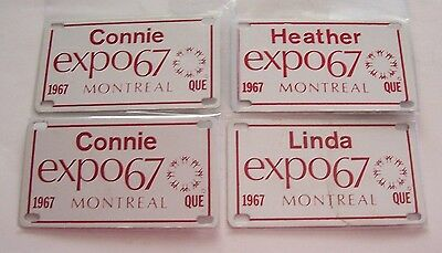 Lot Of 4 Expo 67 Mini License Plates For Bicycles - 2 Connie, 1 Linda, 1 Heather