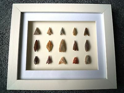 Neolithic Arrowheads in 3D Picture Frame, Authentic Artifacts 4000BC (X004)