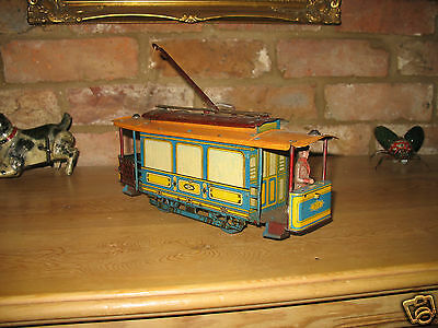 LOVELY VINTAGE RARE TRAM TROLLEY CAR GERMANY OROBR RICHTER & CO tinplate tin toy