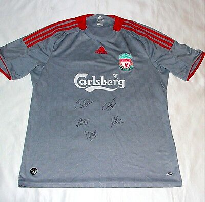 Carragher Hyypiä Riise Finnan & Reina Signed Liverpool Football Shirt with COA