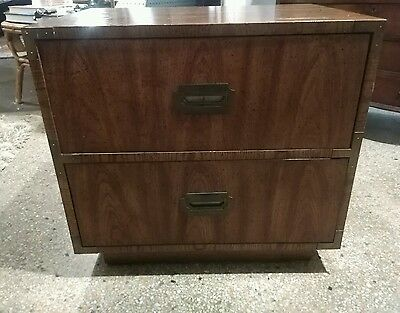 ViNTAGE  campaign 2 DRAWER wood & brass NIGHTSTAND DIXIE FURNITURE we WILL SHIP!