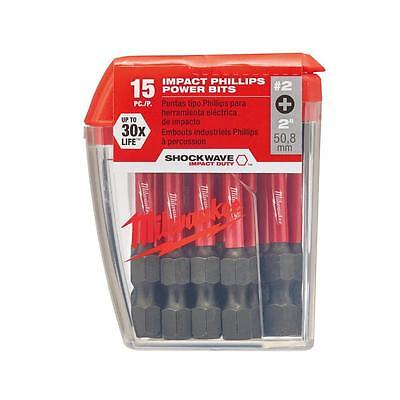 Milwaukee(48-32-5004) Philips #2 Impact Duty Steel Driver Bits (15-Pack)