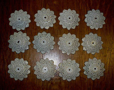 (( #3 )) (( Set Of 12 Die Cast Fancy Knob Rosettes Flower Shape Design ))  )))