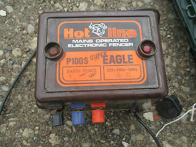 Hot Line P100 Eagle Mains Electric Fence Energizer Unit With Posts & Horse Tape