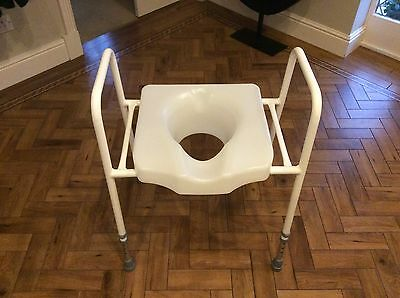 Toilet Seat & Frame Commode - Height Adjustable & Free Standing