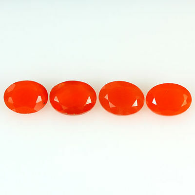 3.030 Ct 100% Natural Museum Grade Fine Orange Red Mexican Fire Opal Oval 4 Pcs