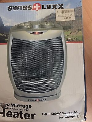Swiss Lux Ceramic Fan  Heater 750-1200W switchable for Camping